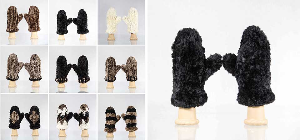 Sheared beaver fur mittens and other garments