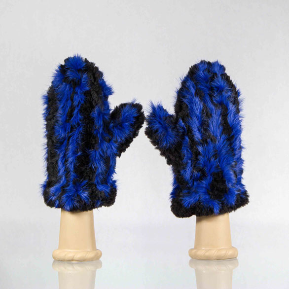 Black beaver mittens with blue rabbit fur accent