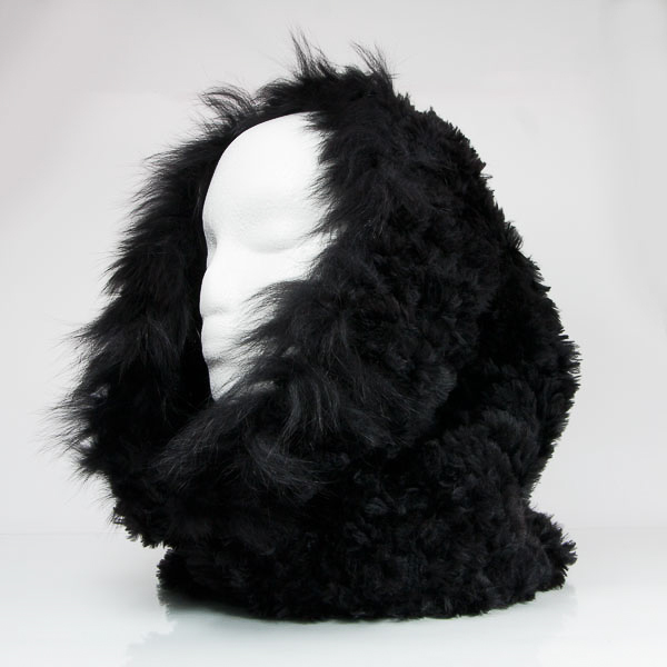 Black fur cowl with fox fur trim