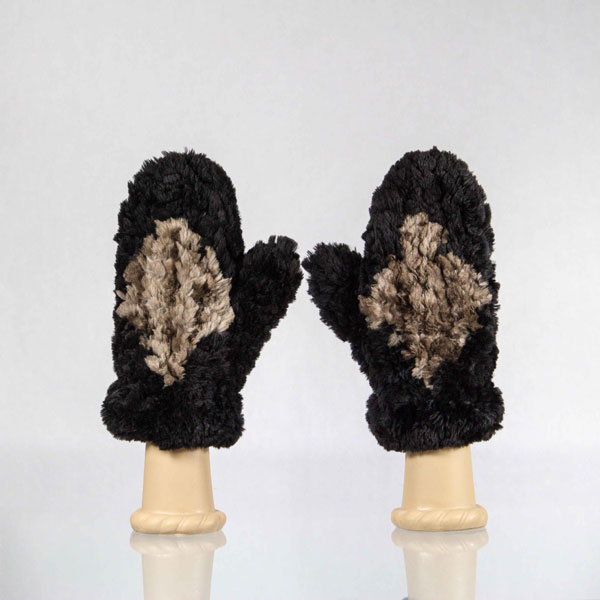 Black sheared beaver mittens with brown diamond pattern