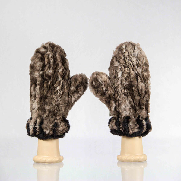 Brown knit sheared beaver fur mittens with black blanket stitch