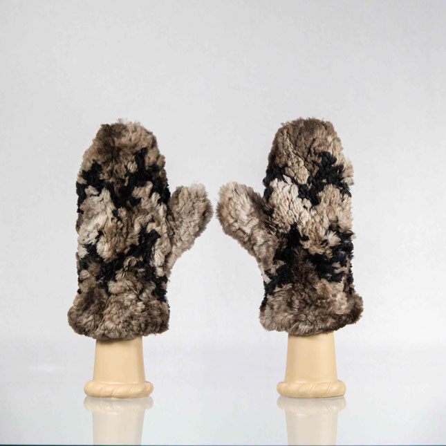 Brown sheared beaver mittens with black chevron pattern