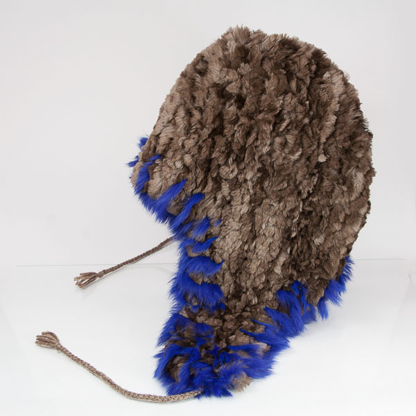 Classic Sheared Beaver Hat with Blue Rabbit Trim