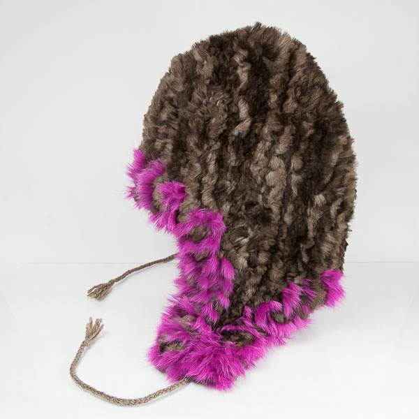 Classic Sheared Beaver Hat with Purple Rabbit Trim