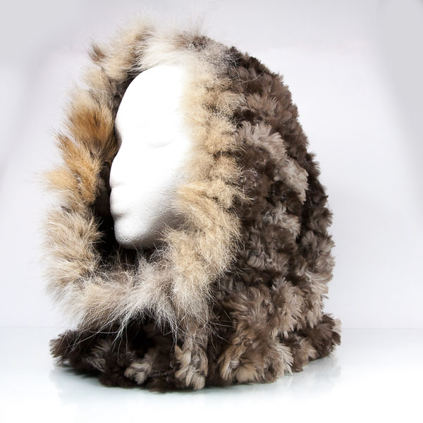 Naturual Knit Beaver Fur Cowl with Lynx Trim