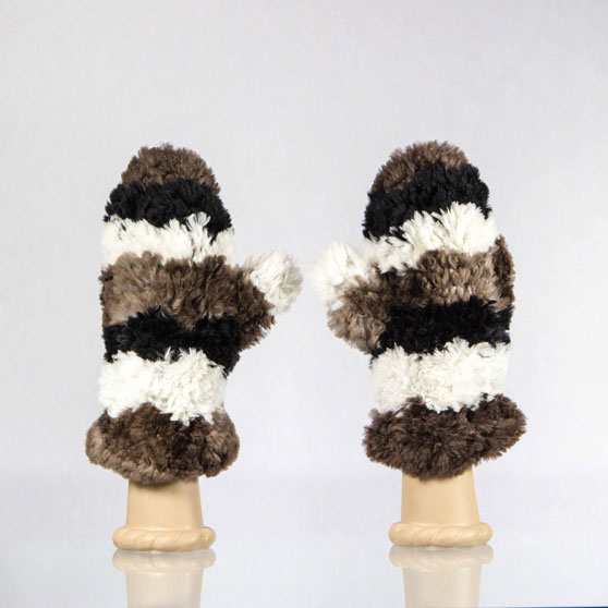 Sheared Beaver Mittens with Wide White Brown and Black Stripes