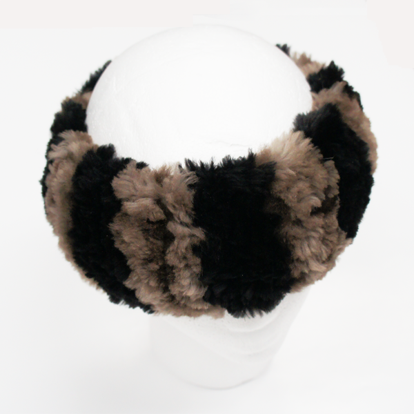Natural beaver fur headband with black strips - side view