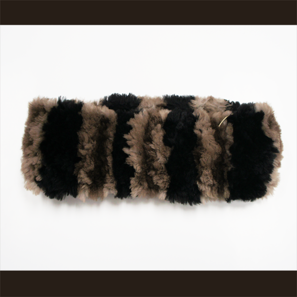 Natural sheared beaver headband with black stripes
