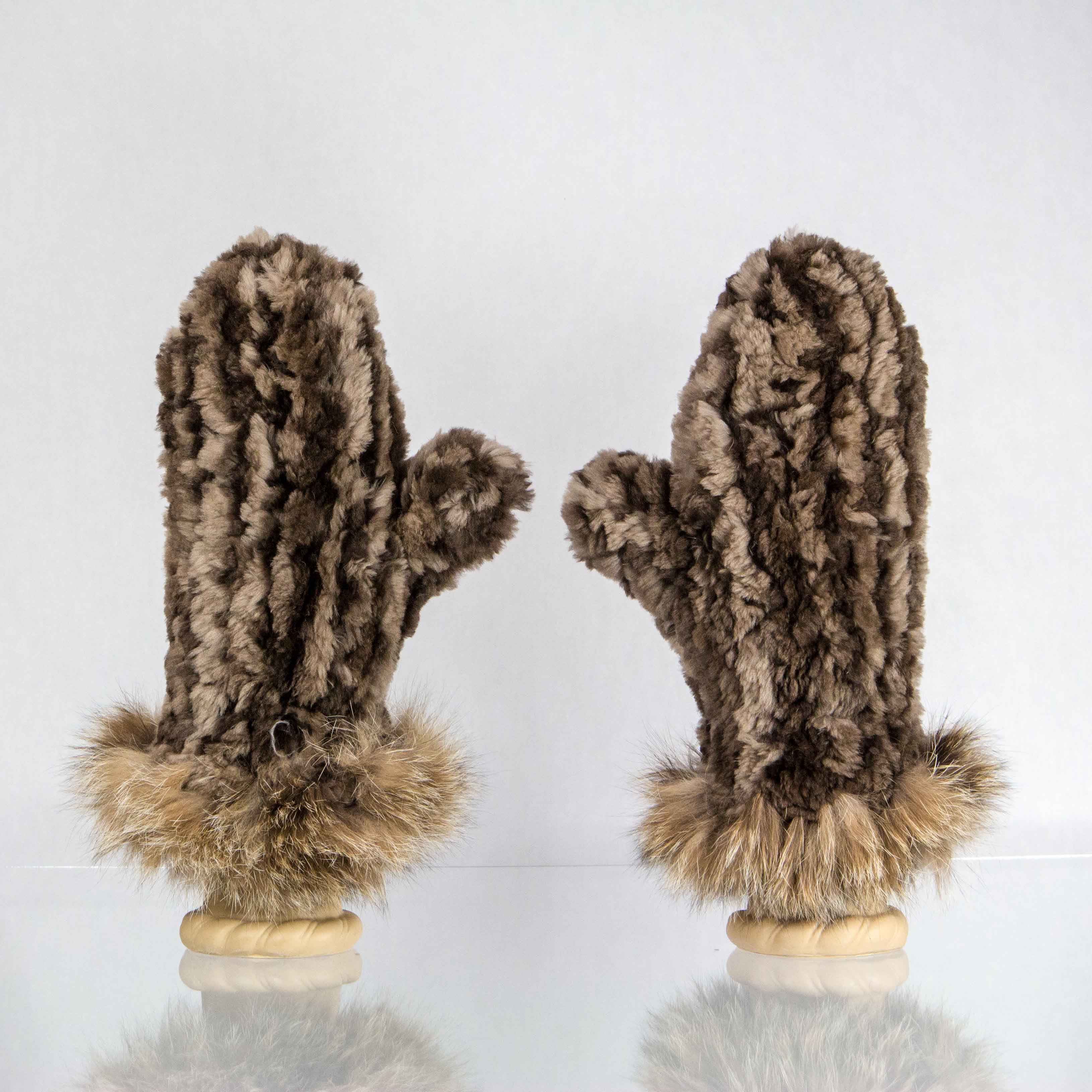 Natural Brown Mittens with Lynx Fur Trim