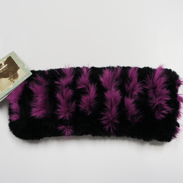 Black beaver fur headband with pink rabbit stripes