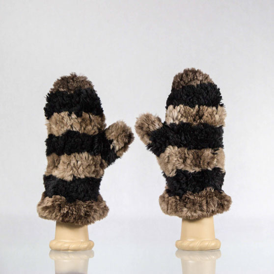 Black and natural striped beaver fur mittens