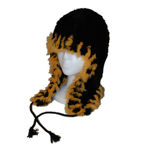 Black beaver helmit hat with orange rabbit fur trim