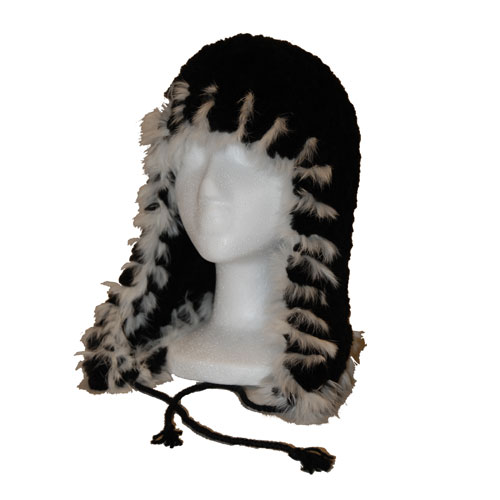 Black sheared beaver helmit hat with white rabbit fur trim