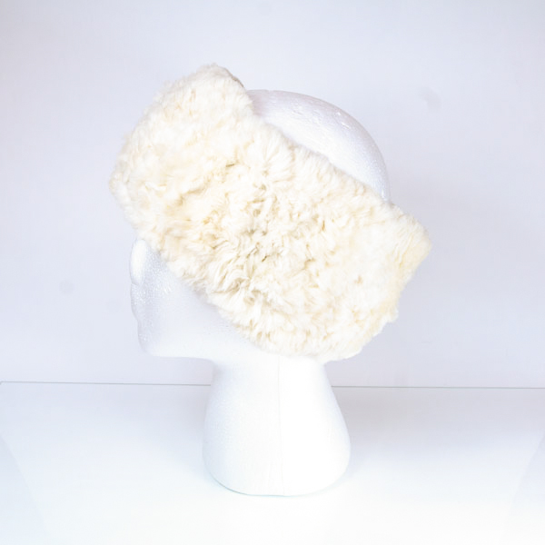 Soft ivory sheared beaver fur headband