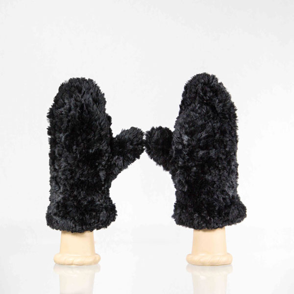 Black Sheared Beaver Fur Mittens