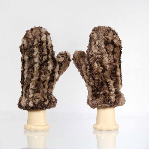 Natural Brown Sheared Beaver Fur Mittens