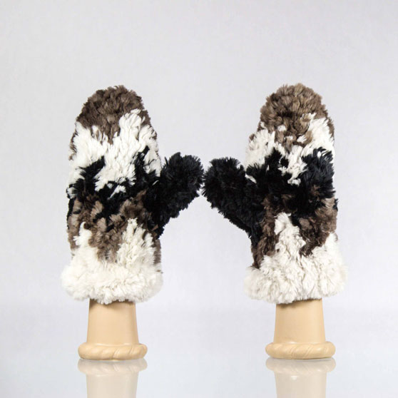 Multi cheveron sheared beaver fur mittens