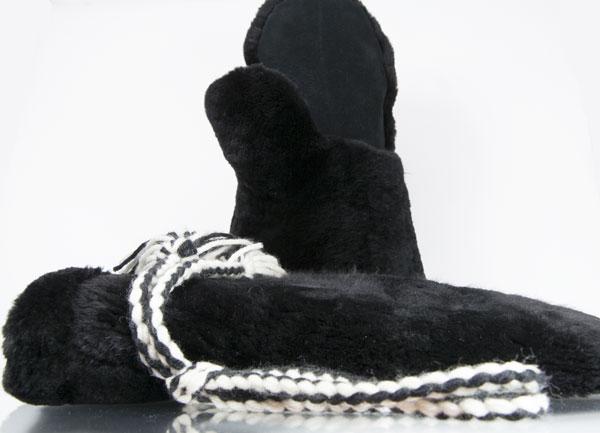 Mens beaver fur mittens - guantlet black
